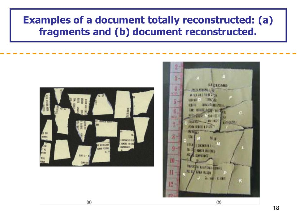 Examples of a document totally reconstructed: (a) fragments and (b) document reconstructed.