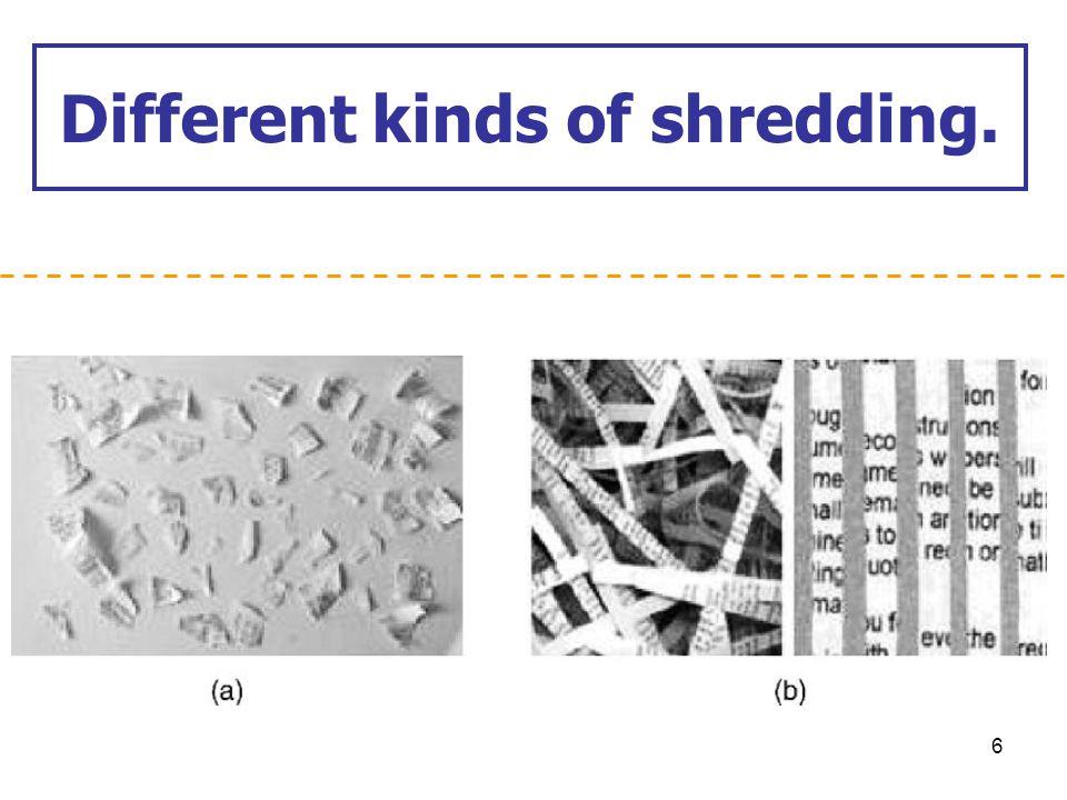 Different kinds of shredding.