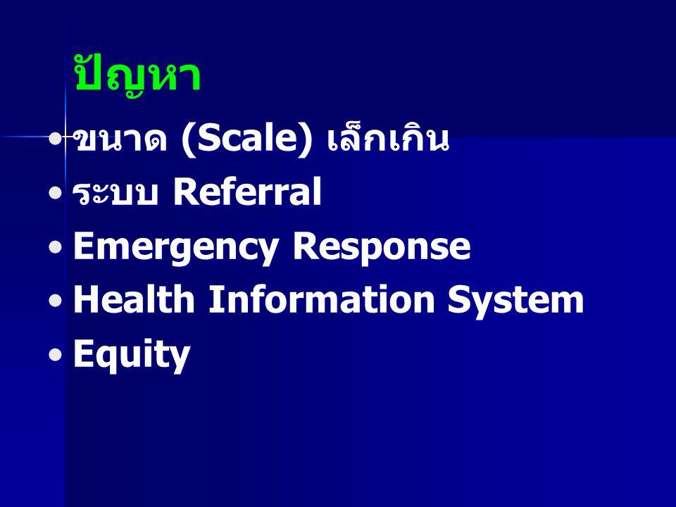 ปัญหา ขนาด (Scale) เล็กเกิน ระบบ Referral Emergency Response