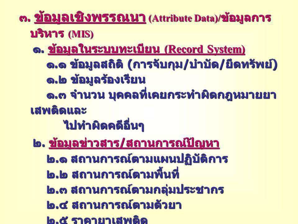 ๓. ข้อมูลเชิงพรรณนา (Attribute Data)/ข้อมูลการบริหาร (MIS)