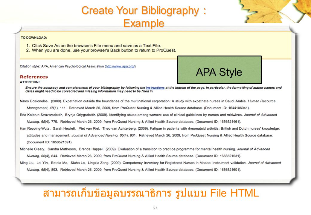 Create Your Bibliography : Example