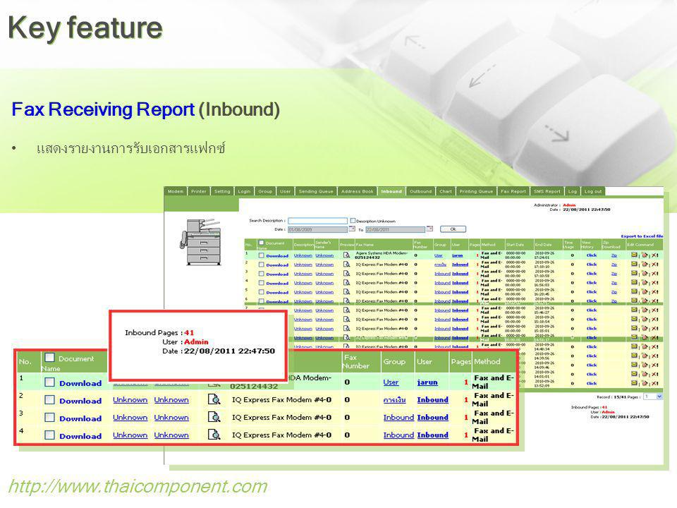 Key feature Fax Receiving Report (Inbound)
