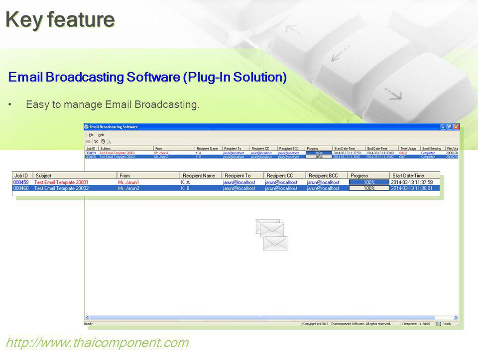 Key feature Email Broadcasting Software (Plug-In Solution)