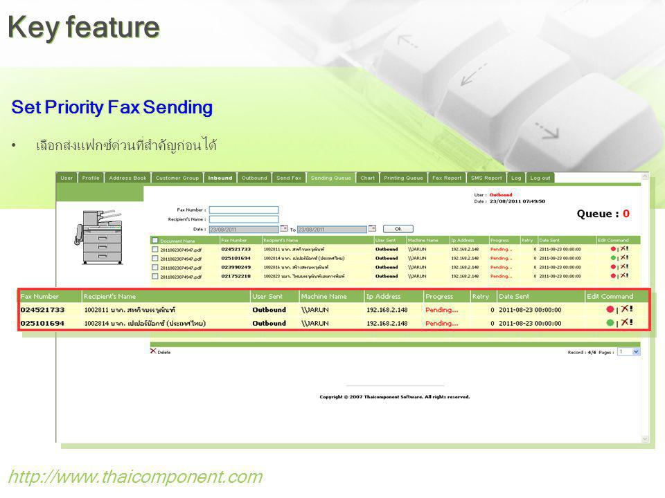Key feature Set Priority Fax Sending http://www.thaicomponent.com