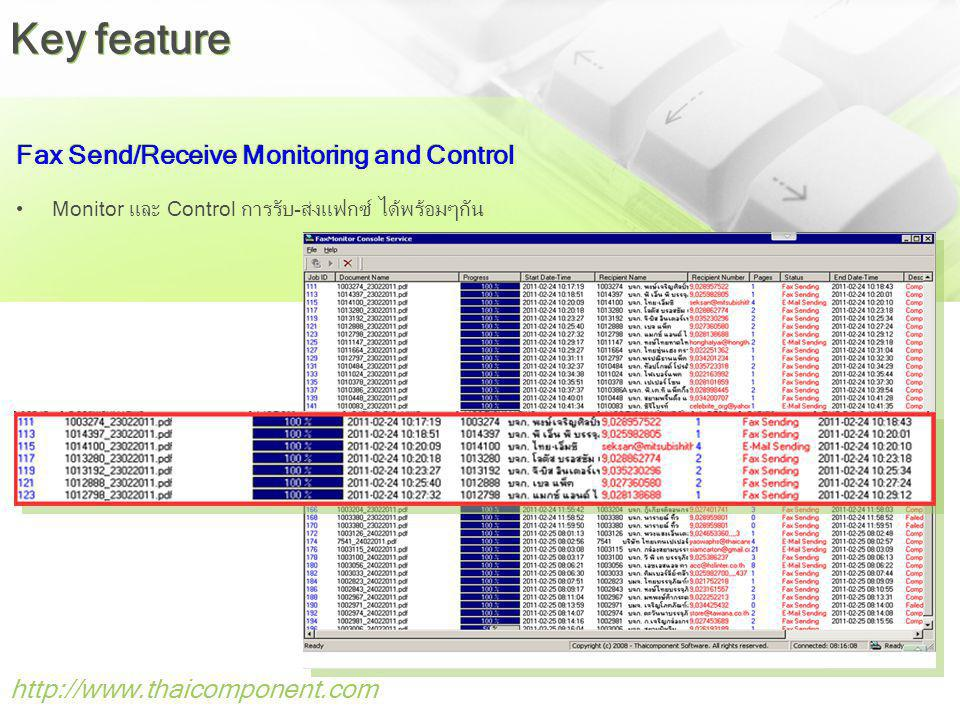 Key feature Fax Send/Receive Monitoring and Control
