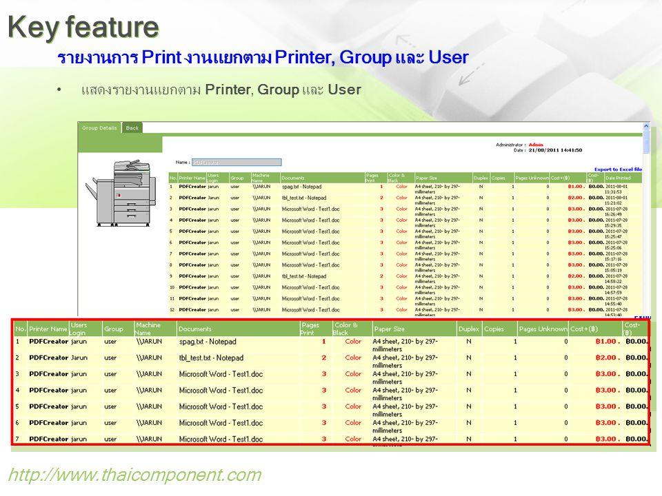 รายงานการ Print งานแยกตาม Printer, Group และ User