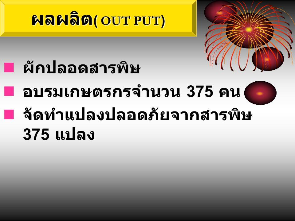 ผลผลิต( OUT PUT) ผักปลอดสารพิษ อบรมเกษตรกรจำนวน 375 คน