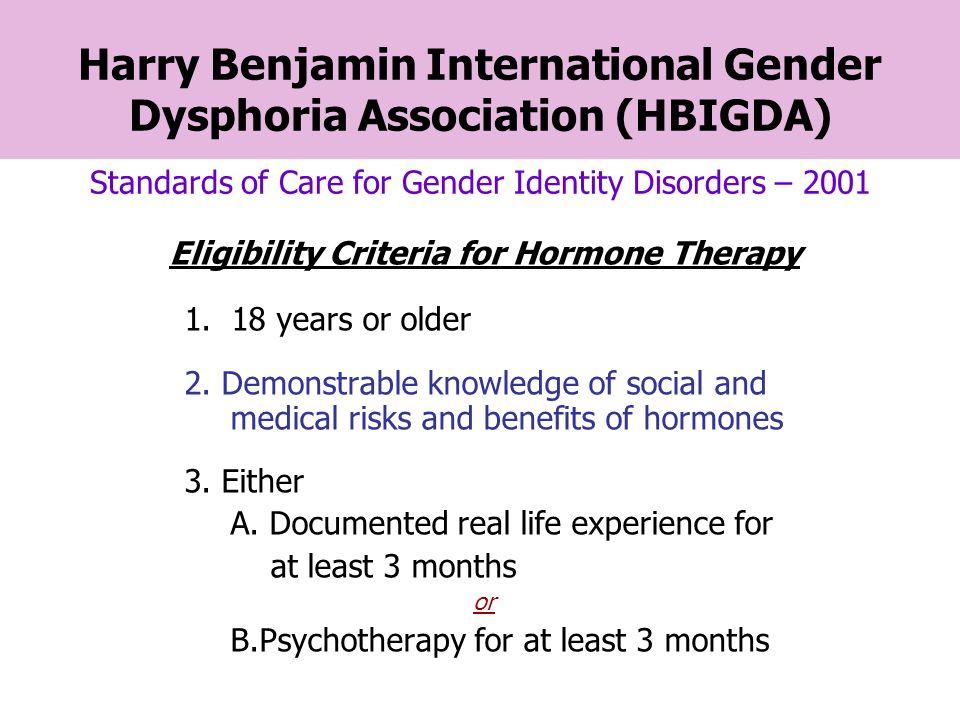 Eligibility Criteria for Hormone Therapy