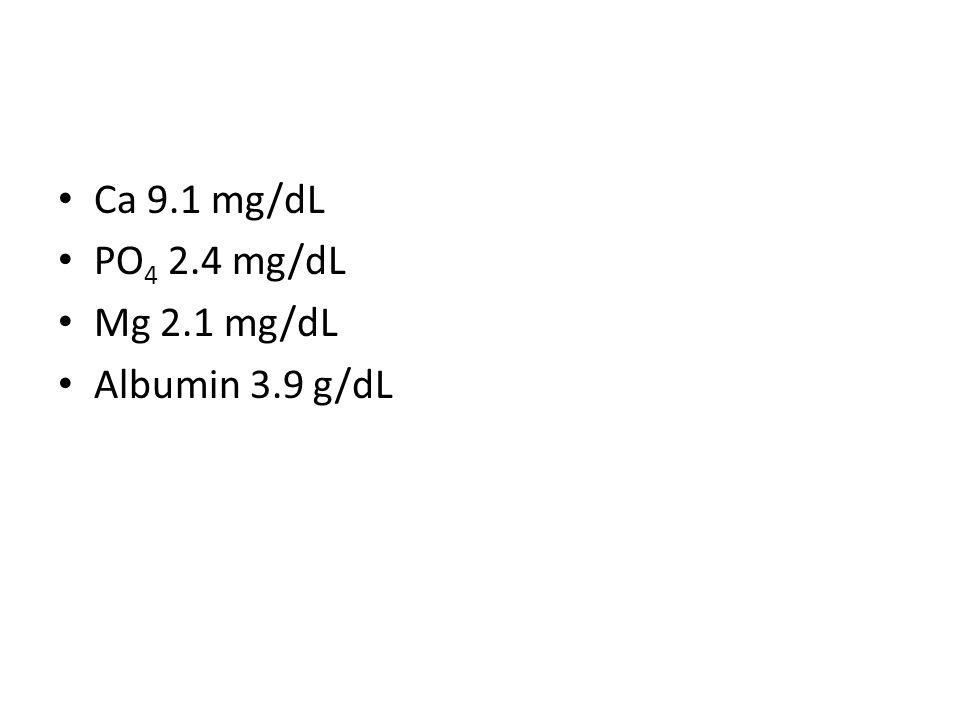 Ca 9.1 mg/dL PO4 2.4 mg/dL Mg 2.1 mg/dL Albumin 3.9 g/dL