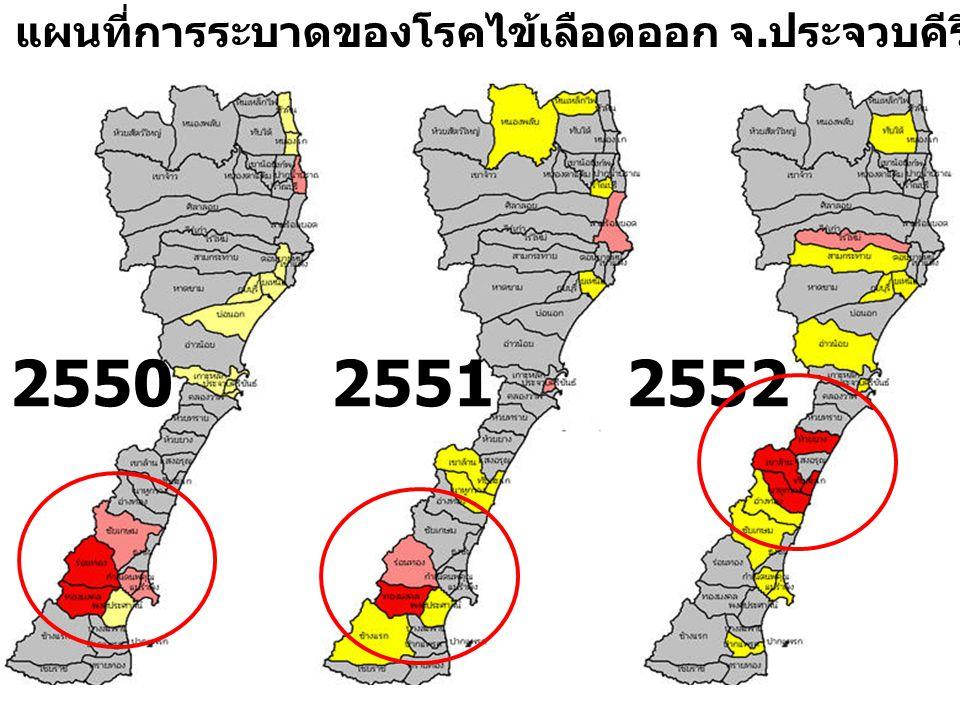 แผนที่การระบาดของโรคไข้เลือดออก จ.ประจวบคีรีขันธ์ ปี 2550 - 2552