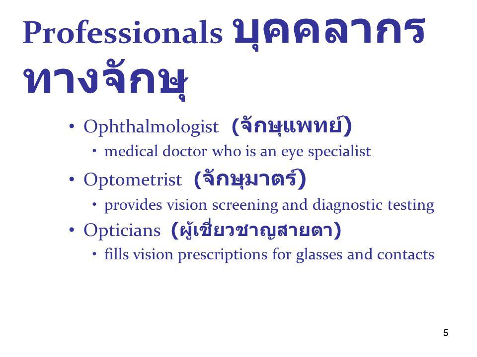 Professionals บุคคลากรทางจักษุ