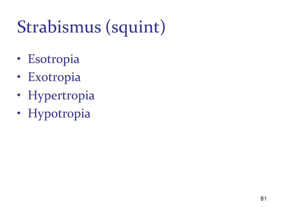 Strabismus (squint) Esotropia Exotropia Hypertropia Hypotropia