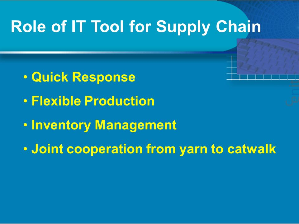 Role of IT Tool for Supply Chain