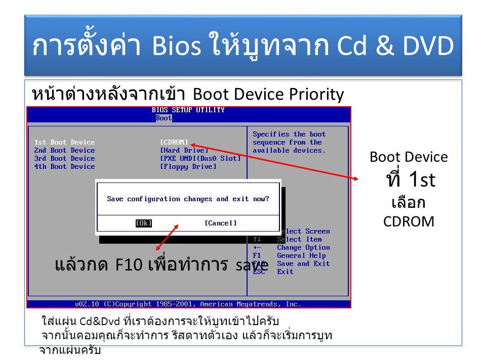 การตั้งค่า Bios ให้บูทจาก Cd & DVD
