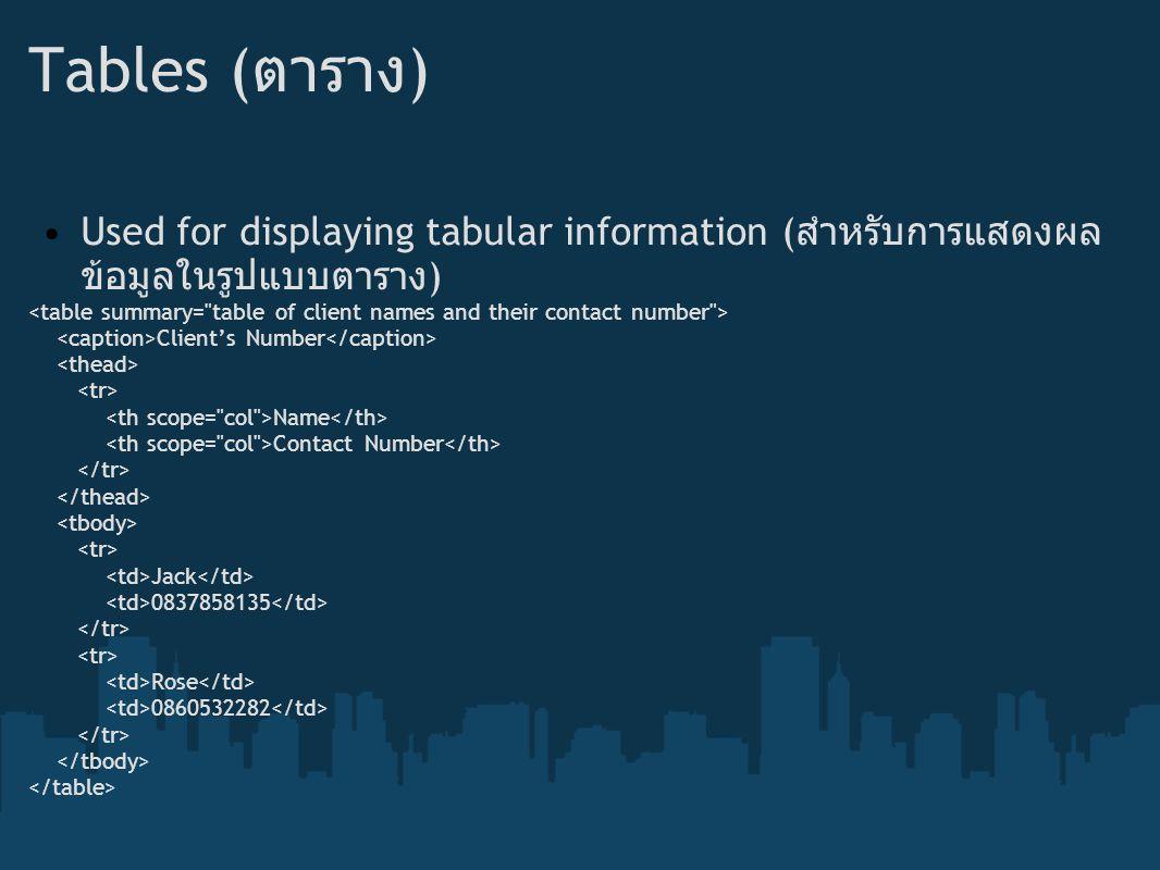 Tables (ตาราง) Used for displaying tabular information (สำหรับการแสดงผลข้อมูลในรูปแบบตาราง)