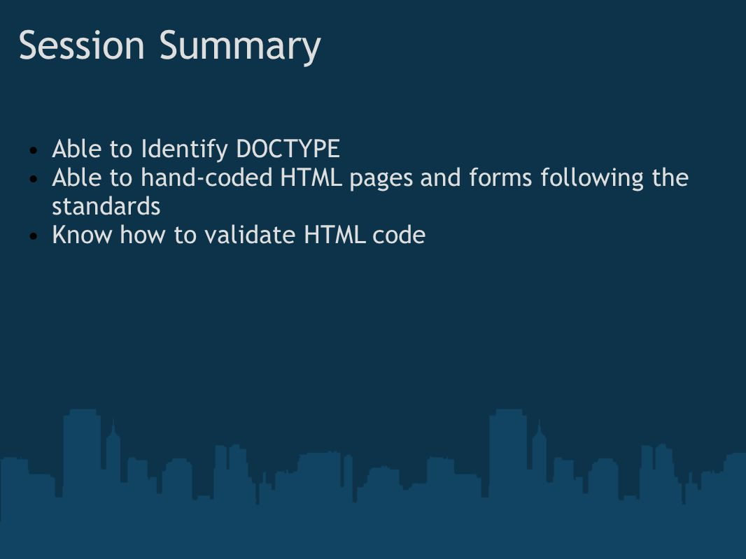 Session Summary Able to Identify DOCTYPE