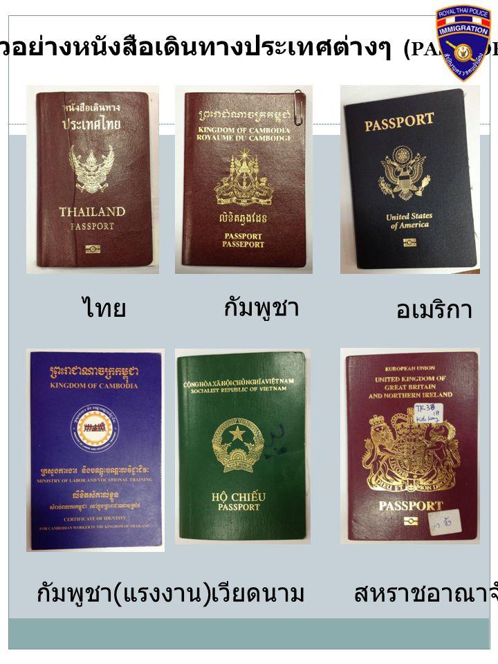 ตัวอย่างหนังสือเดินทางประเทศต่างๆ (PASSPORT)