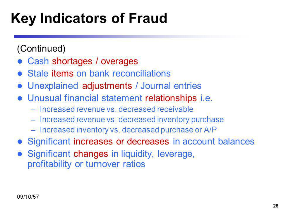 Key Indicators of Fraud