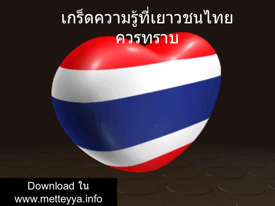เกร็ดความรู้ที่เยาวชนไทยควรทราบ
