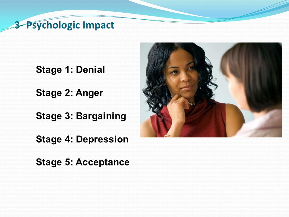 3- Psychologic Impact Stage 1: Denial Stage 2: Anger Stage 3: Bargaining Stage 4: Depression Stage 5: Acceptance.