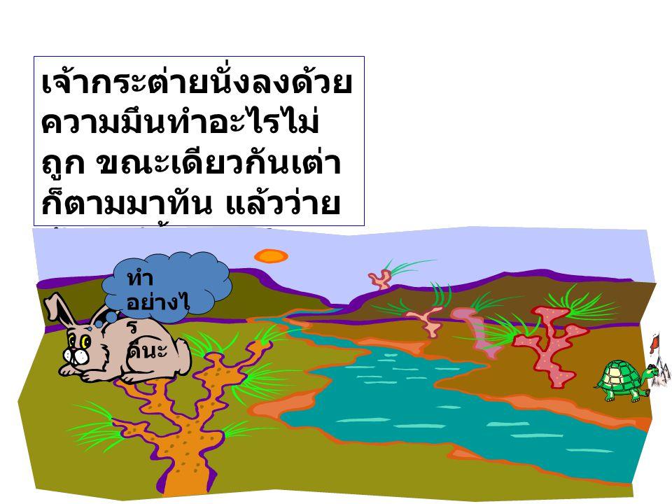 เจ้ากระต่ายนั่งลงด้วยความมึนทำอะไรไม่ถูก ขณะเดียวกันเต่าก็ตามมาทัน แล้วว่ายข้ามแม่น้ำและเดินต่อไปไปถึงเส้นชัย