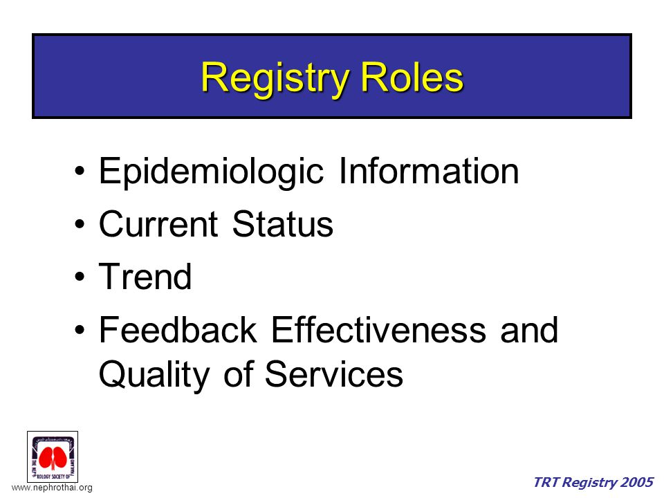 Registry Roles Epidemiologic Information Current Status Trend