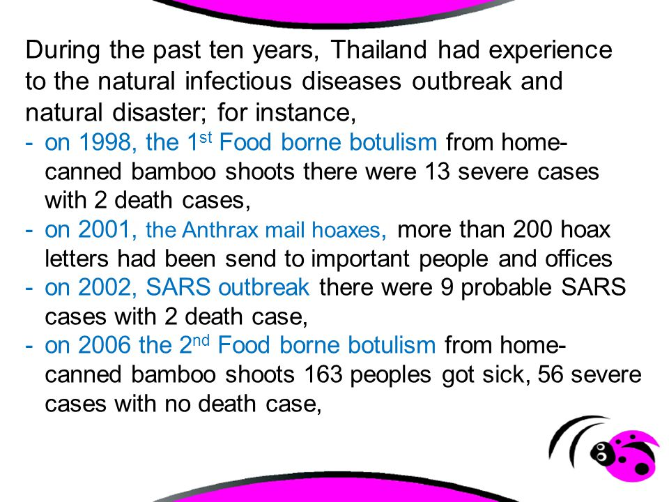 During the past ten years, Thailand had experience to the natural infectious diseases outbreak and natural disaster; for instance,