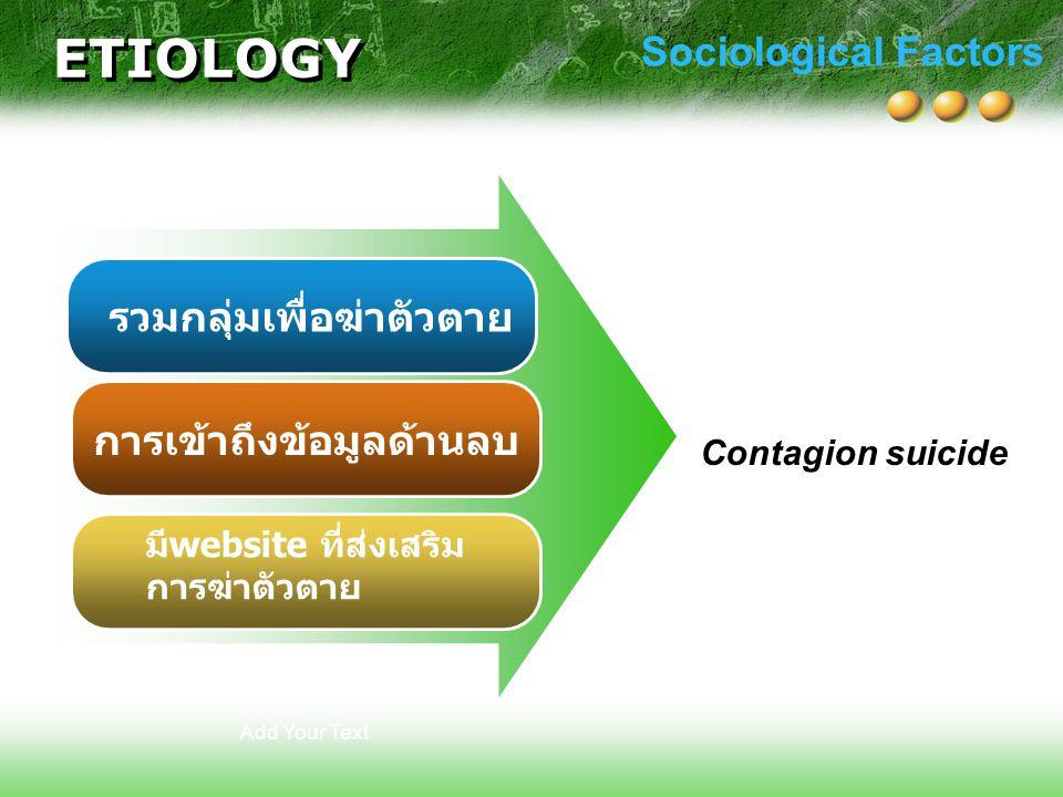 ETIOLOGY Sociological Factors รวมกลุ่มเพื่อฆ่าตัวตาย