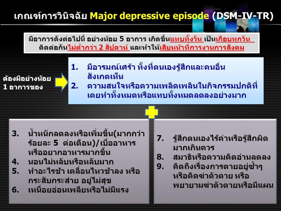 เกณฑ์การวินิจฉัย Major depressive episode (DSM-IV-TR)
