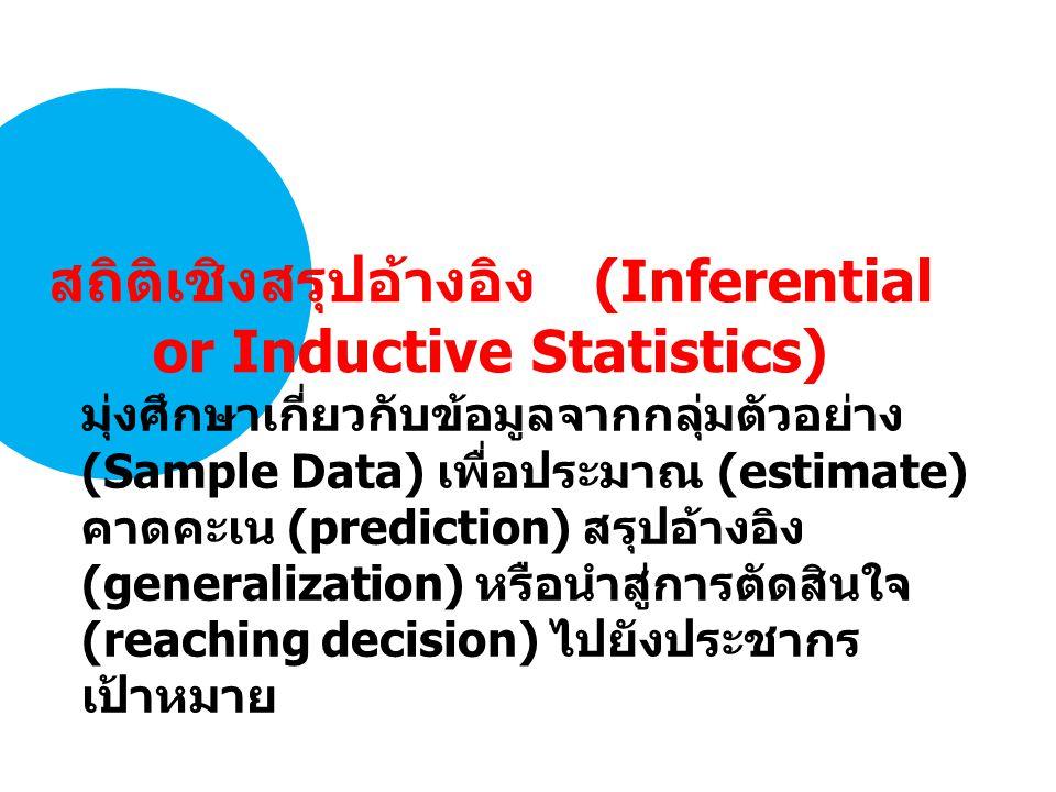สถิติเชิงสรุปอ้างอิง (Inferential or Inductive Statistics)