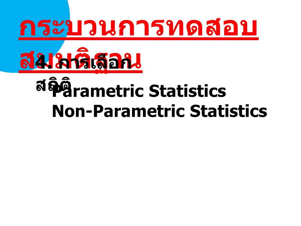Parametric Statistics Non-Parametric Statistics