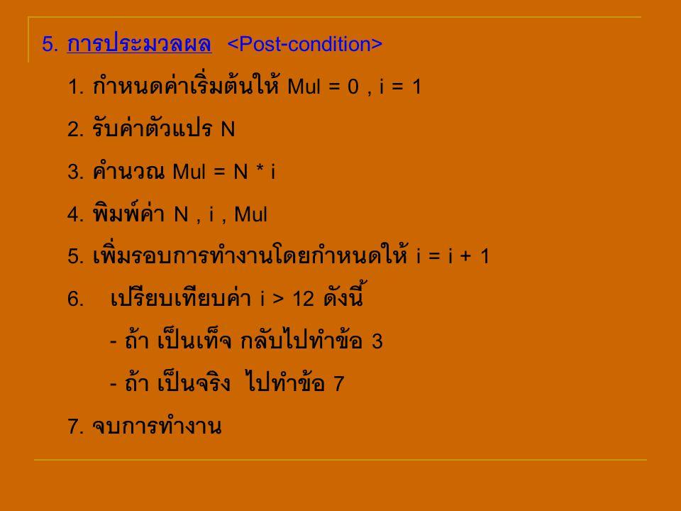 5. การประมวลผล <Post-condition>