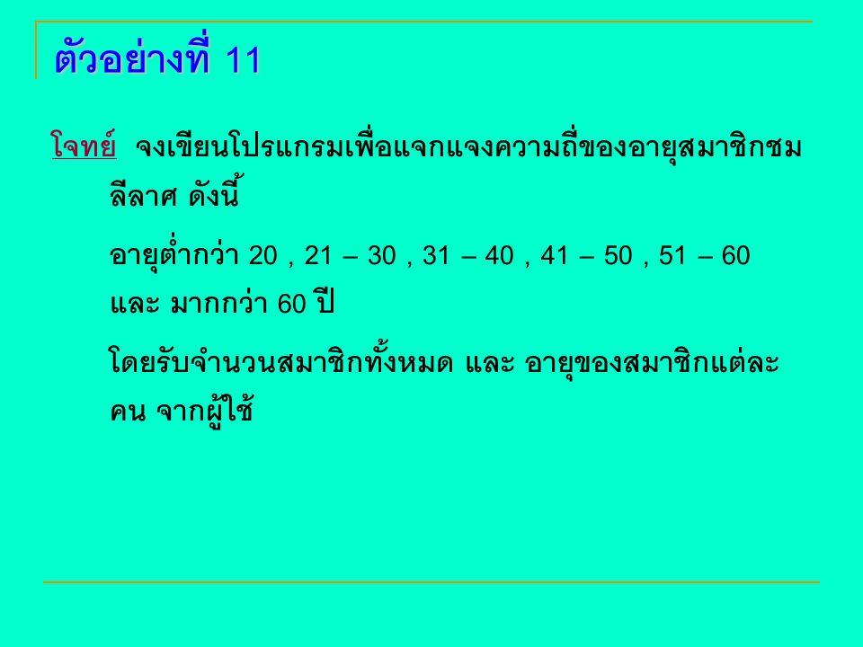 ตัวอย่างที่ 11 โจทย์ จงเขียนโปรแกรมเพื่อแจกแจงความถี่ของอายุสมาชิกชมลีลาศ ดังนี้