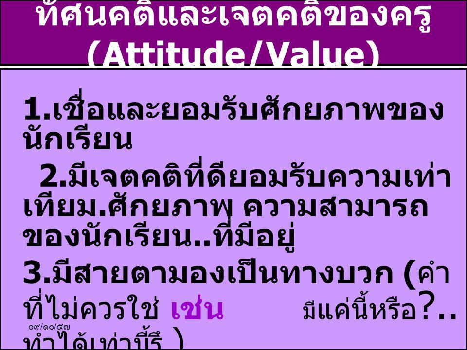 ทัศนคติและเจตคติของครู(Attitude/Value)