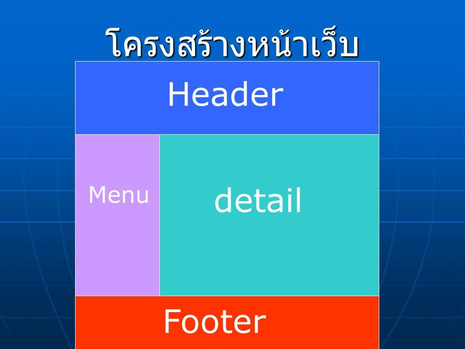 โครงสร้างหน้าเว็บ Header Menu detail Footer