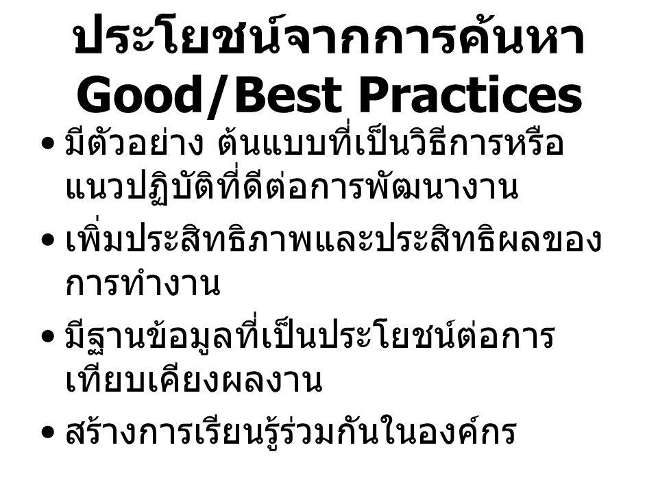 ประโยชน์จากการค้นหา Good/Best Practices