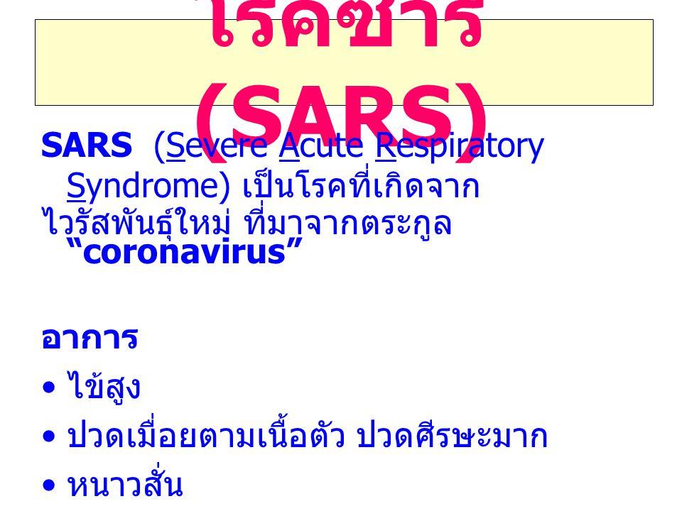 โรคซาร์ (SARS) SARS (Severe Acute Respiratory Syndrome) เป็นโรคที่เกิดจาก. ไวรัสพันธุ์ใหม่ ที่มาจากตระกูล coronavirus