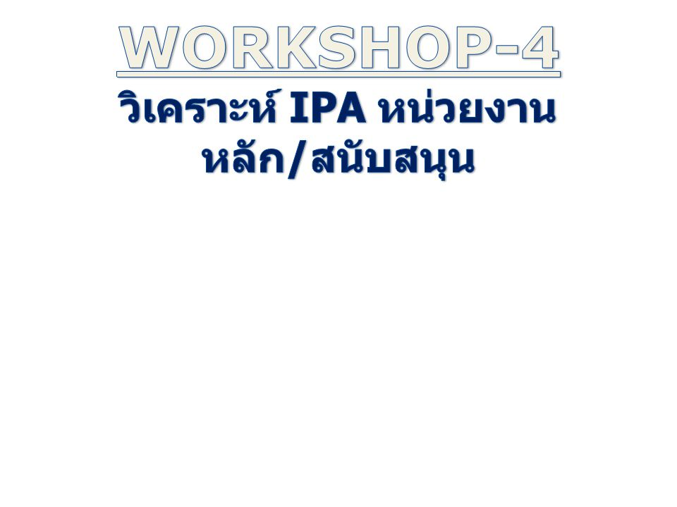 วิเคราะห์ IPA หน่วยงานหลัก/สนับสนุน