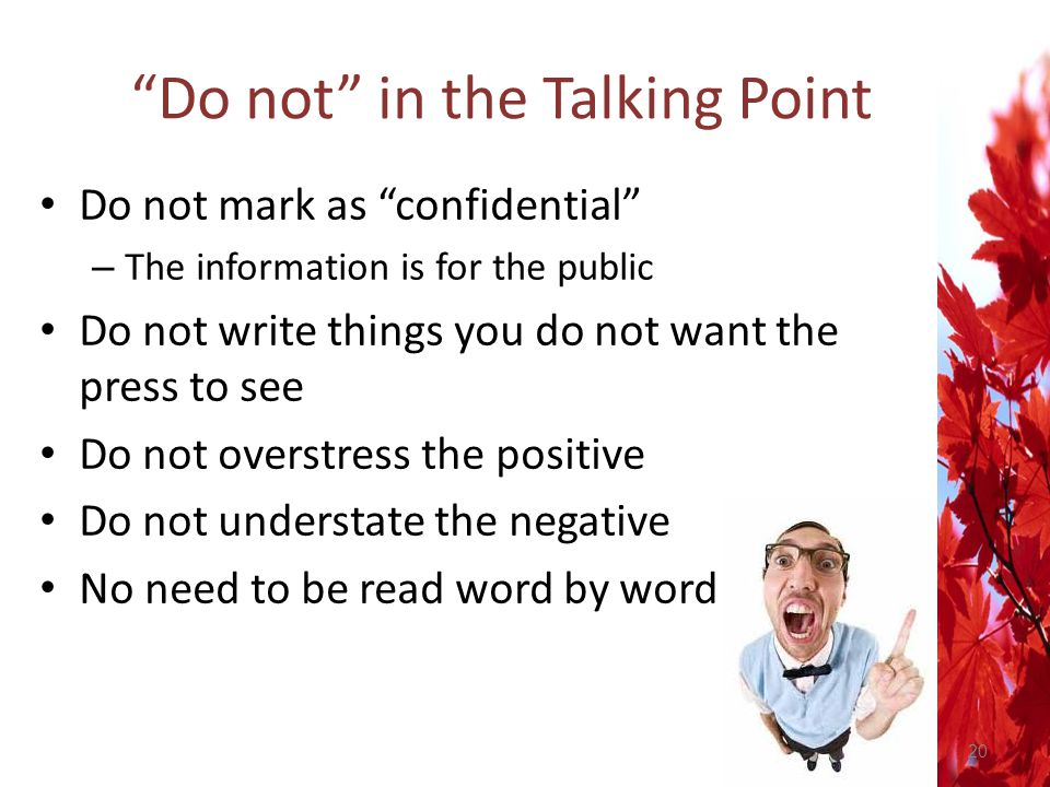 Do not in the Talking Point