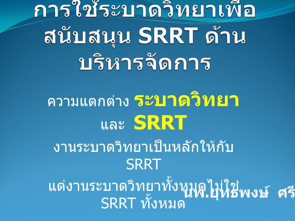 การใช้ระบาดวิทยาเพื่อสนับสนุน SRRT ด้านบริหารจัดการ