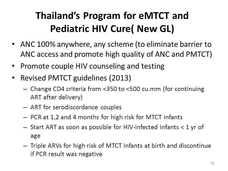 Thailand's Program for eMTCT and Pediatric HIV Cure( New GL)