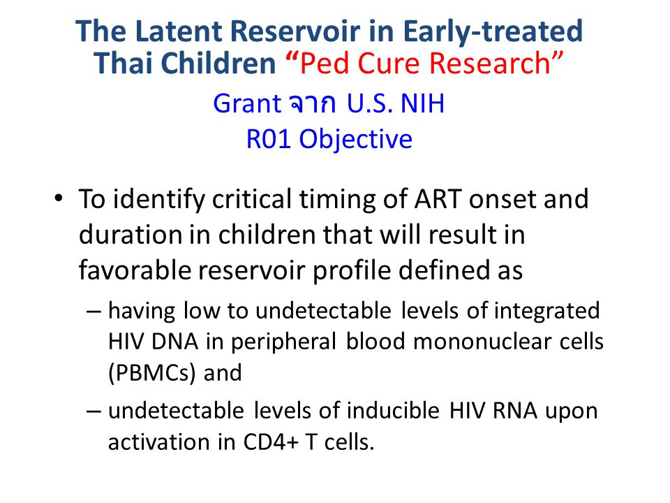 Grant จาก U.S. NIH R01 Objective
