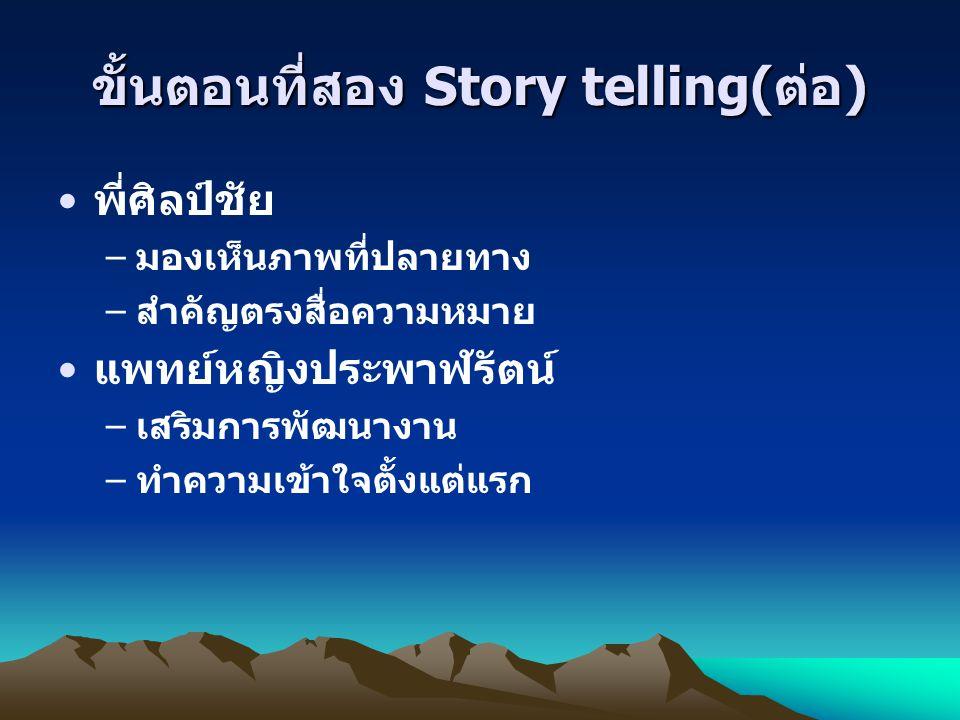 ขั้นตอนที่สอง Story telling(ต่อ)