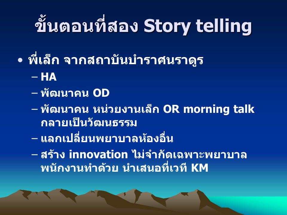 ขั้นตอนที่สอง Story telling