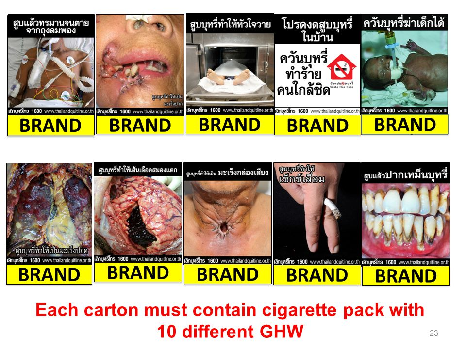 Each carton must contain cigarette pack with 10 different GHW