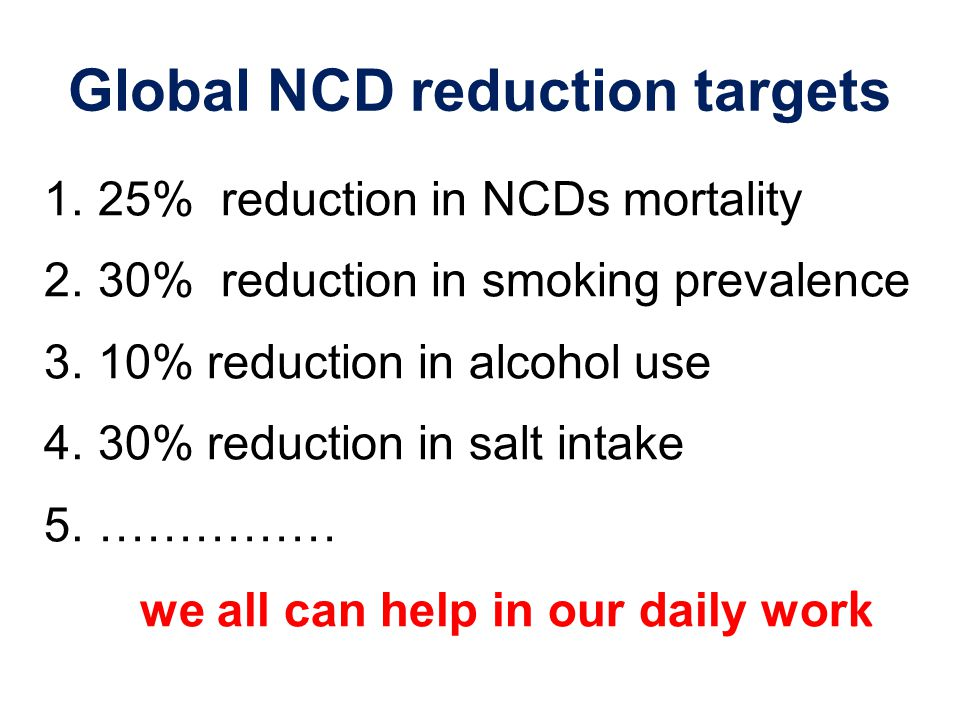 Global NCD reduction targets