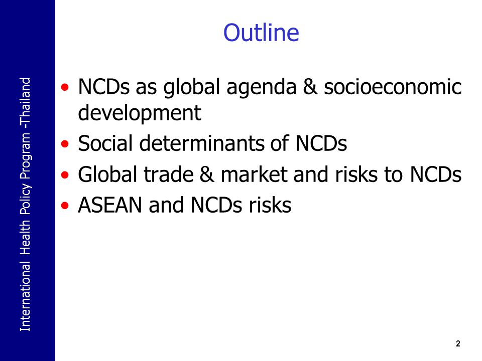 Outline NCDs as global agenda & socioeconomic development