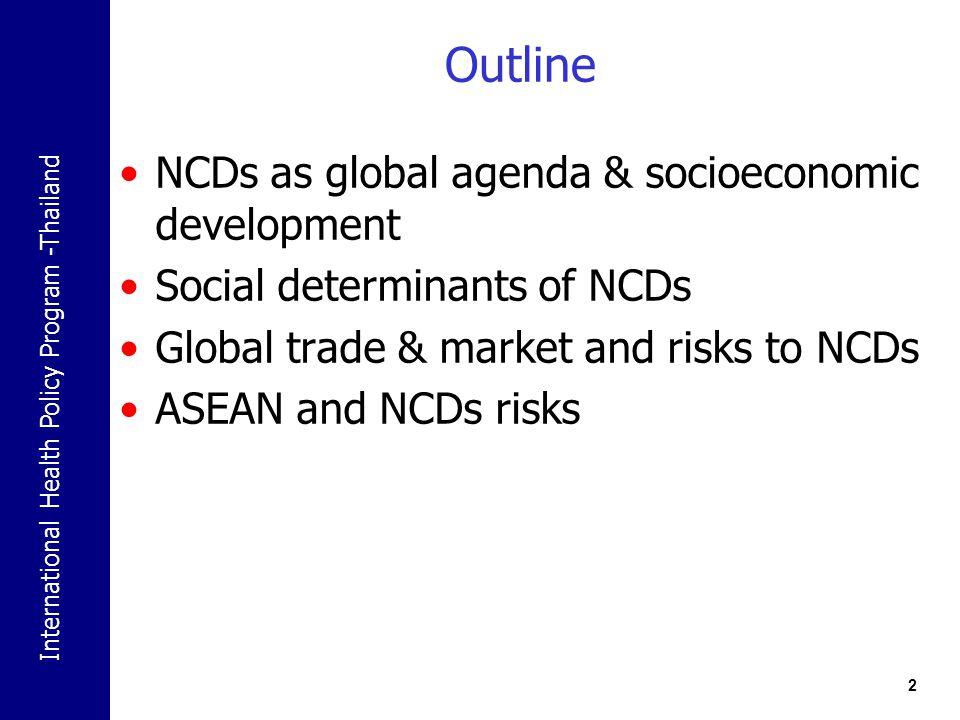 Outline NCDs as global agenda & socioeconomic development