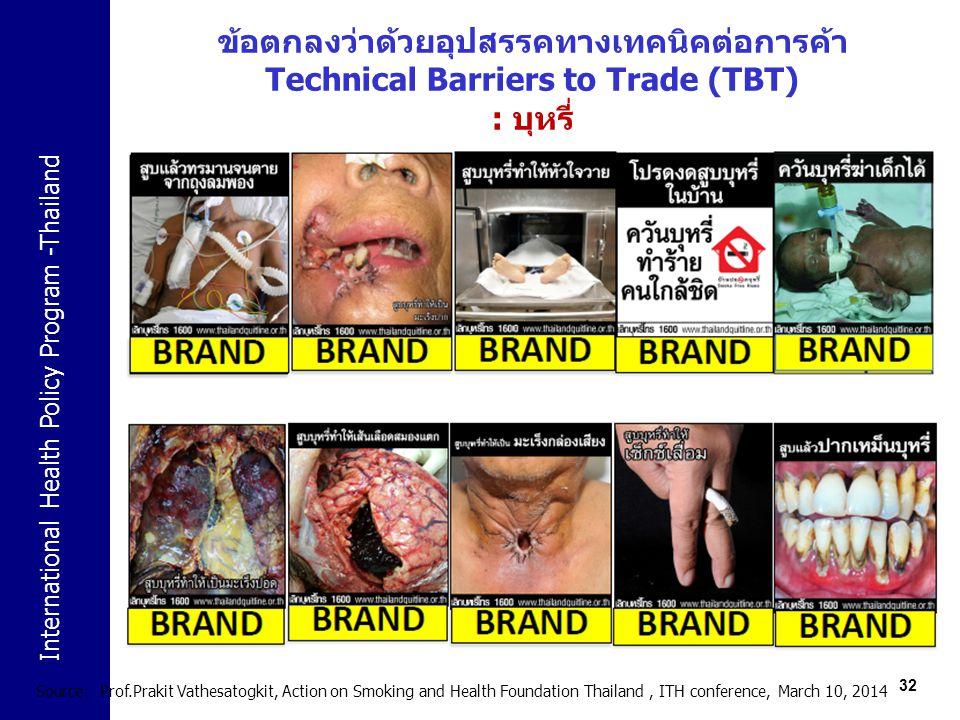 ข้อตกลงว่าด้วยอุปสรรคทางเทคนิคต่อการค้า Technical Barriers to Trade (TBT) : บุหรี่
