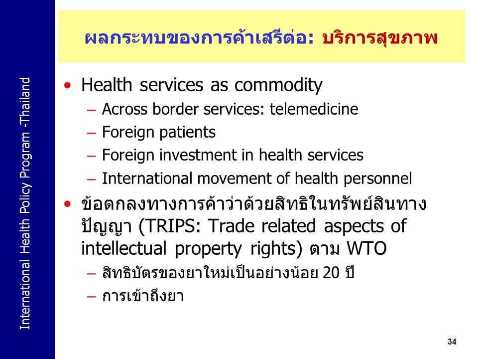 ผลกระทบของการค้าเสรีต่อ: บริการสุขภาพ